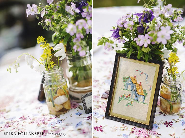 vintage flowers backyard wedding reception dover NH