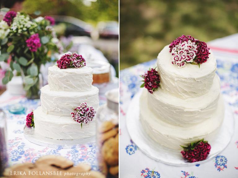 wedding cake outdoor backyard wedding