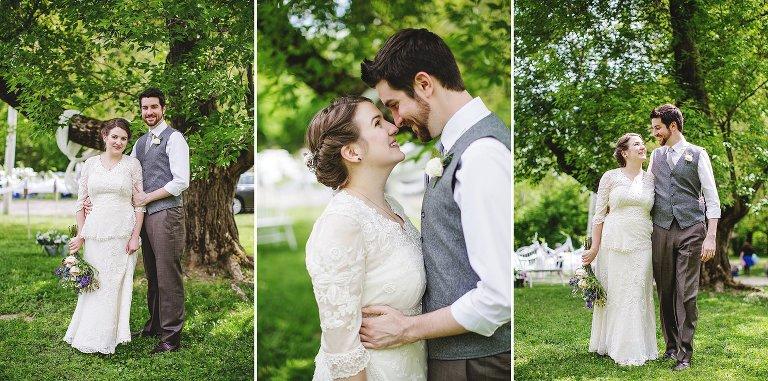 NH bride groom outdoor backyard wedding