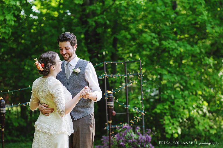 NH backyard wedding reception dancing