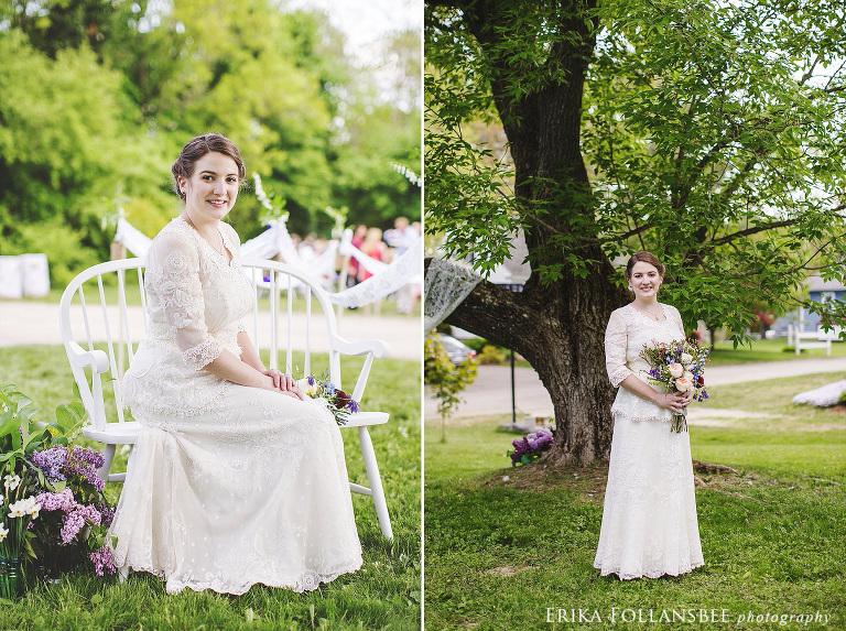 bride wearing antique lace dress vintage