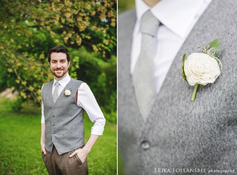 groom wearing Balsa Boutonniere sola wood flower