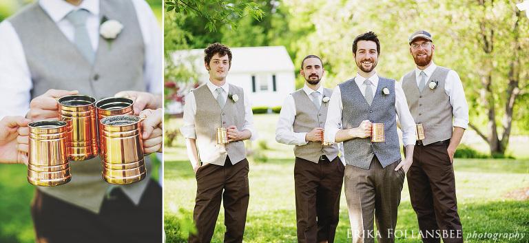 groomsmen with copper tankards