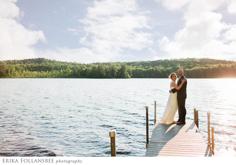 dunbarton gorham pond dock wedding photo