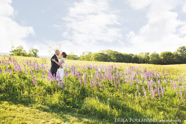wedding photo in the lupines NH