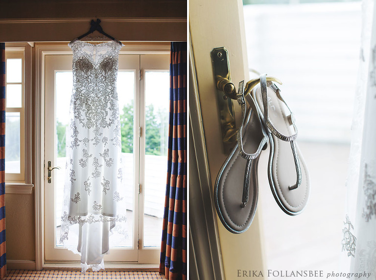 gown hanging in bridal suite at Wolfeboro Inn, NH