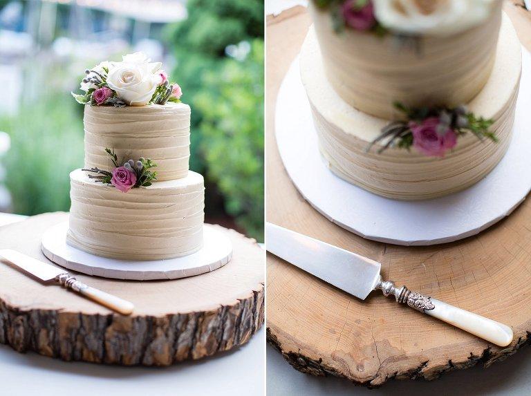 NH rustic backyard wedding Frederick's cake