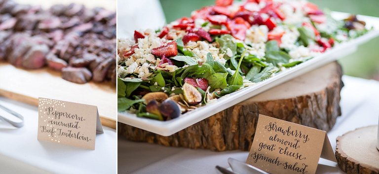 NH tented wedding reception food