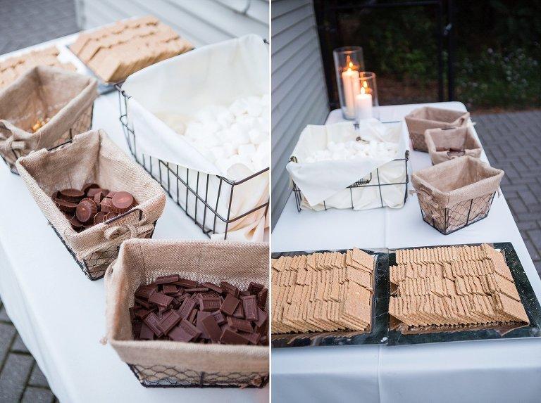 NH backyard wedding smores bar