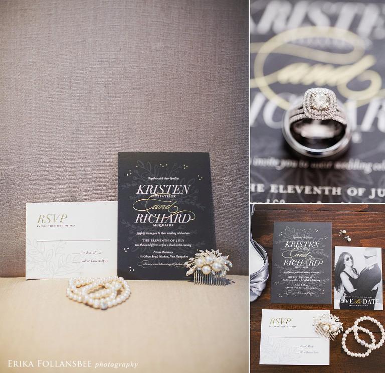 wedding invitation with double halo diamond ring