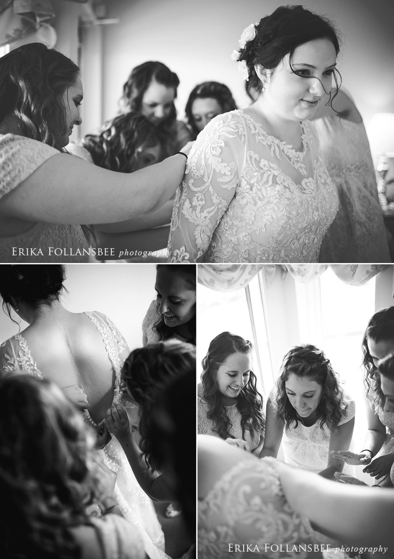 Bride getting dressed at Cliff House Resort | Cape Neddick, Maine