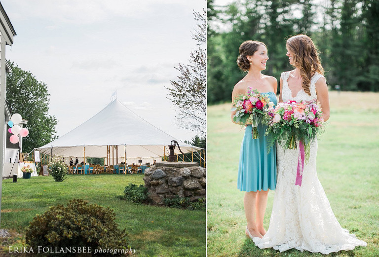 scenic sailcloth tent | bride and maid of honor with large bouquets