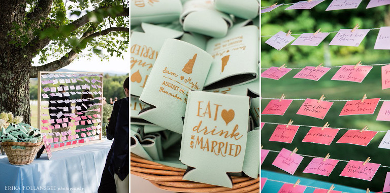ombre colored seating chart guest escort cards
