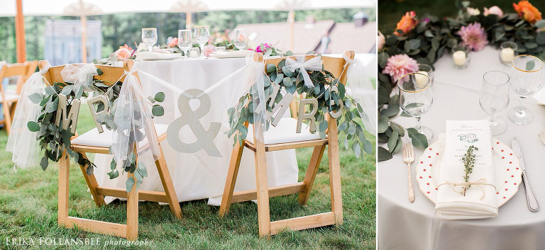 sweetheart table with draped eucalyptus table runner garland
