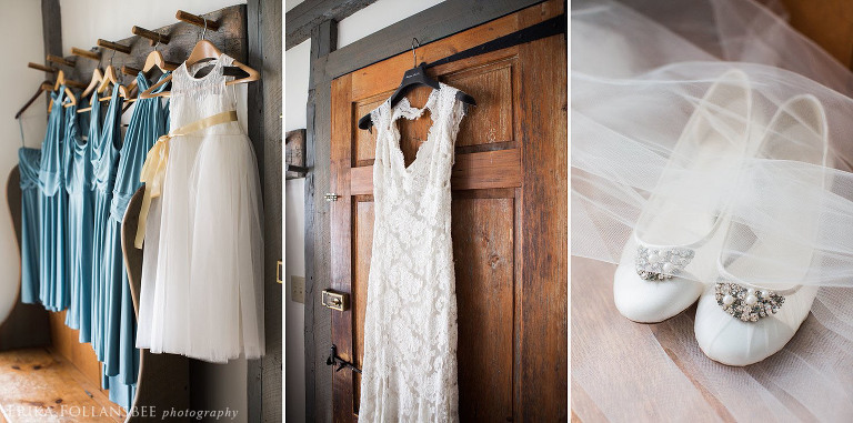 wedding gown and bridesmaids dresses hanging in a rustic toned room