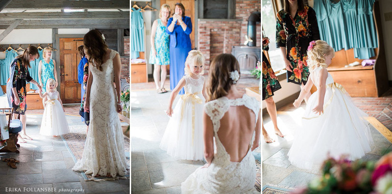 Flower girl admiring bride