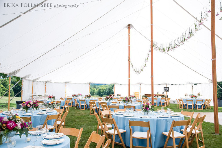 Tented wedding reception with powder blue tablecloths | Special Events of New England