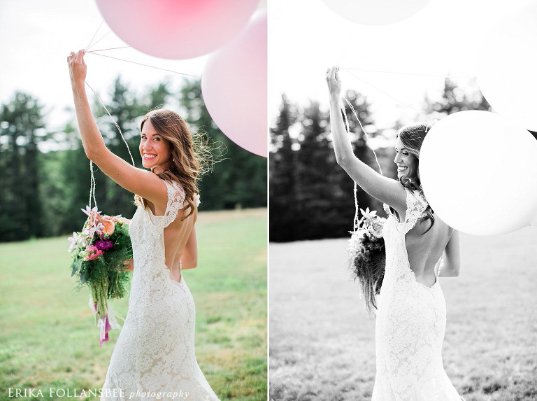 Beautiful bride with large pink balloons