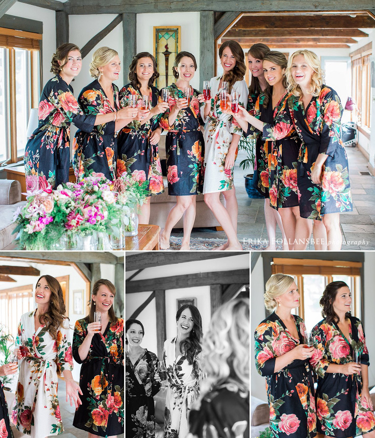 Bridesmaids in colorful robes