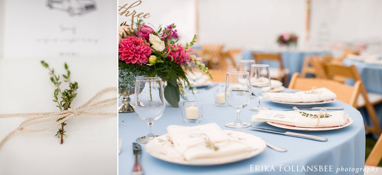 Colorful centerpieces on blue tablecloths with mismatched china plates