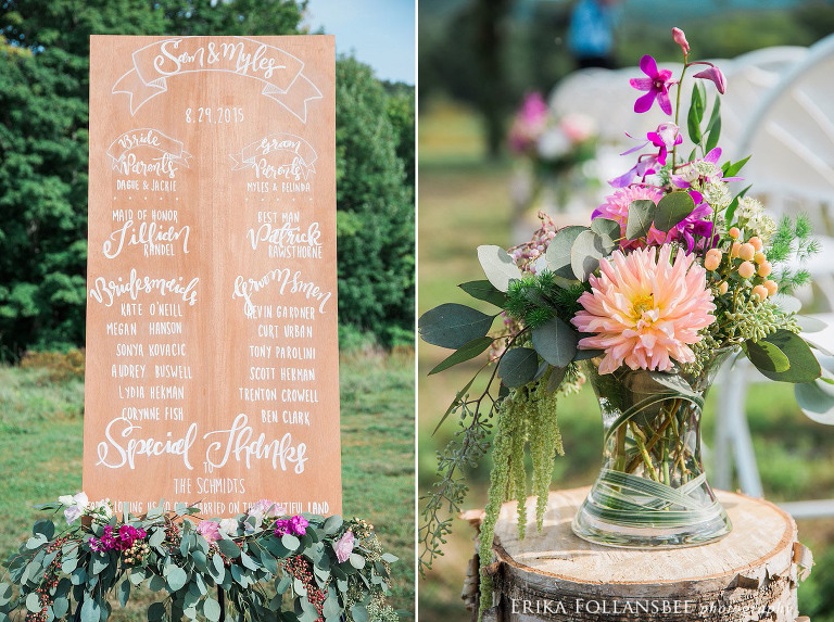 Hand lettered wooden wedding ceremony sign