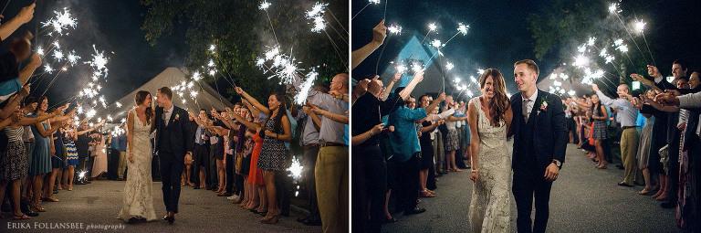 NH Wedding Photography | sparkler exit