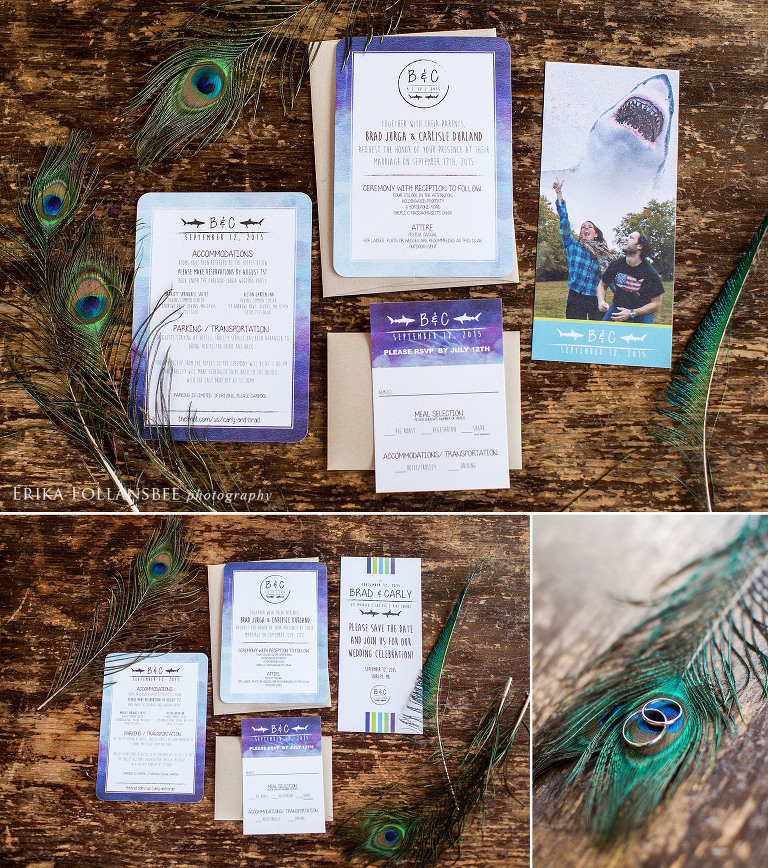 Peacock and Shark themed wedding invitations