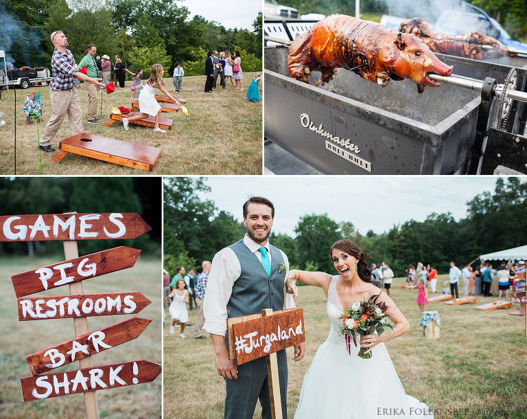 Shark themed wedding reception with pig roast | Shirley, MA