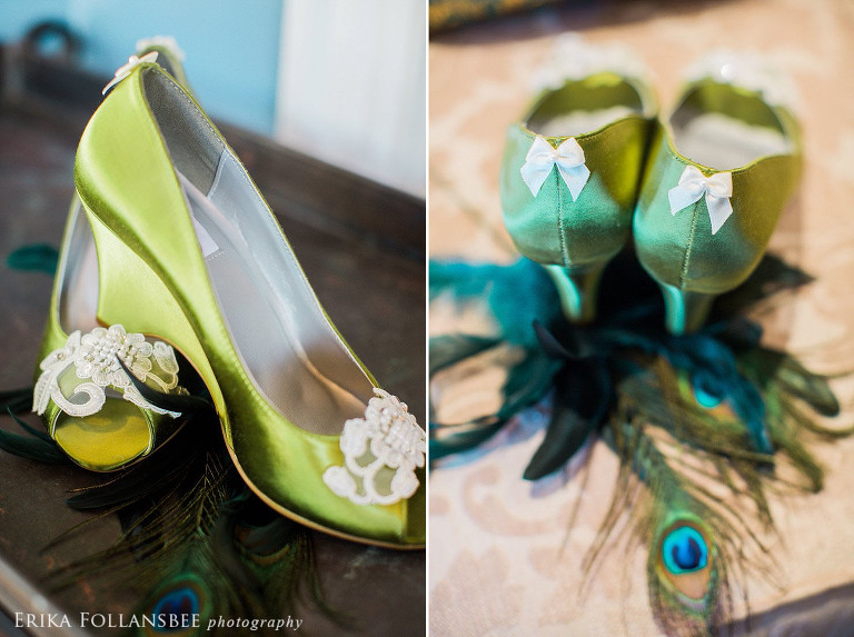 peacock green wedding shoes