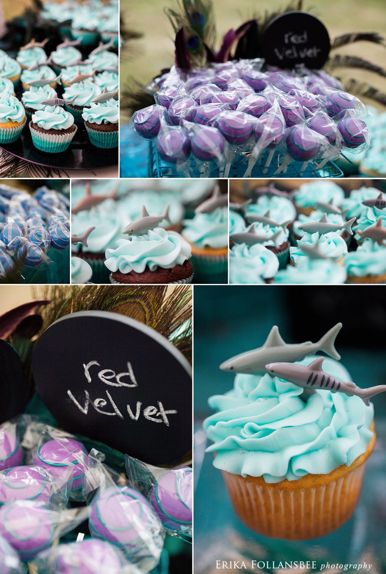 shark themed cupcakes by sweetcakes cupcakery MA