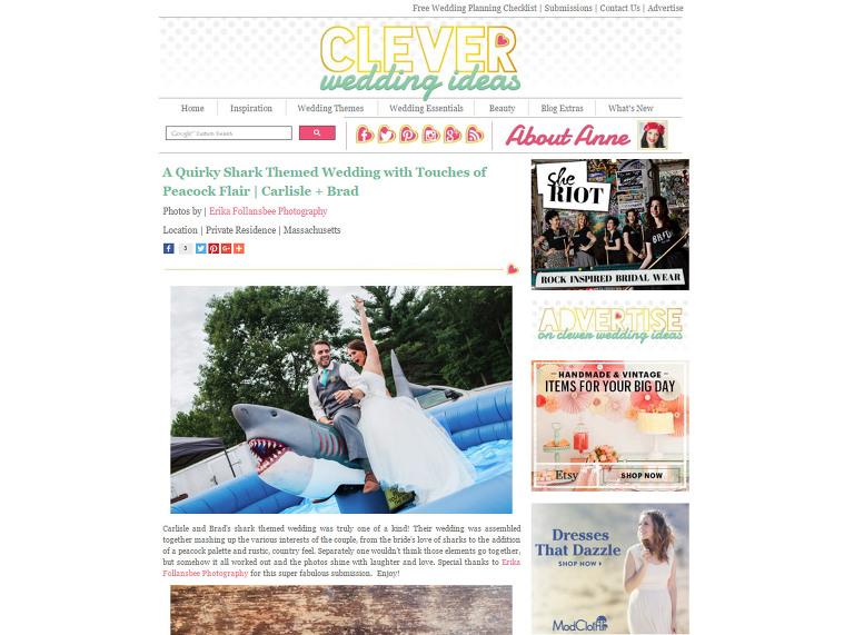Massachusetts Shark Wedding Featured on Clever Wedding Ideas