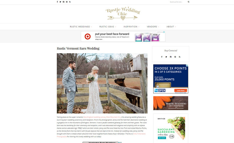 Erika Follansbee Photography Featured on Rustic Wedding Chic