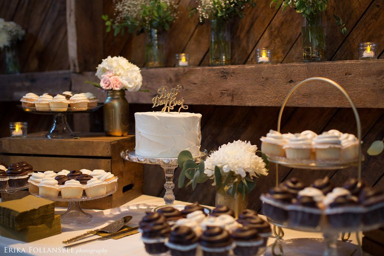 Rustic Elegant Dessert Display by Jacques Pastries at Bishop Farm