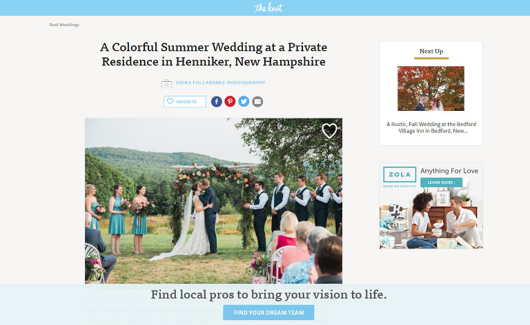 Henniker NH Wedding featured on The Knot