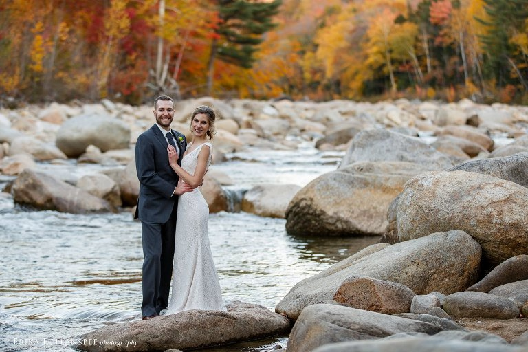 Bride and Groom in the Pemigewasset River at Loon Mt. Resort, October Wedding | Erika Follansbee Photography