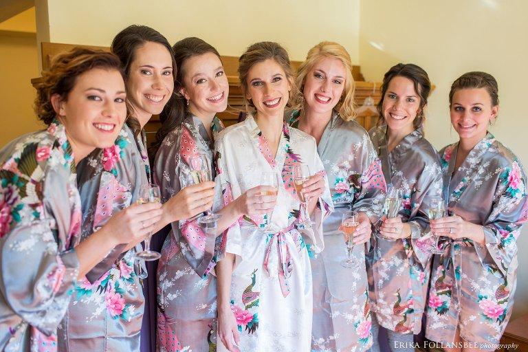 Bridesmaids in robes at Loon Mt. Resort wedding