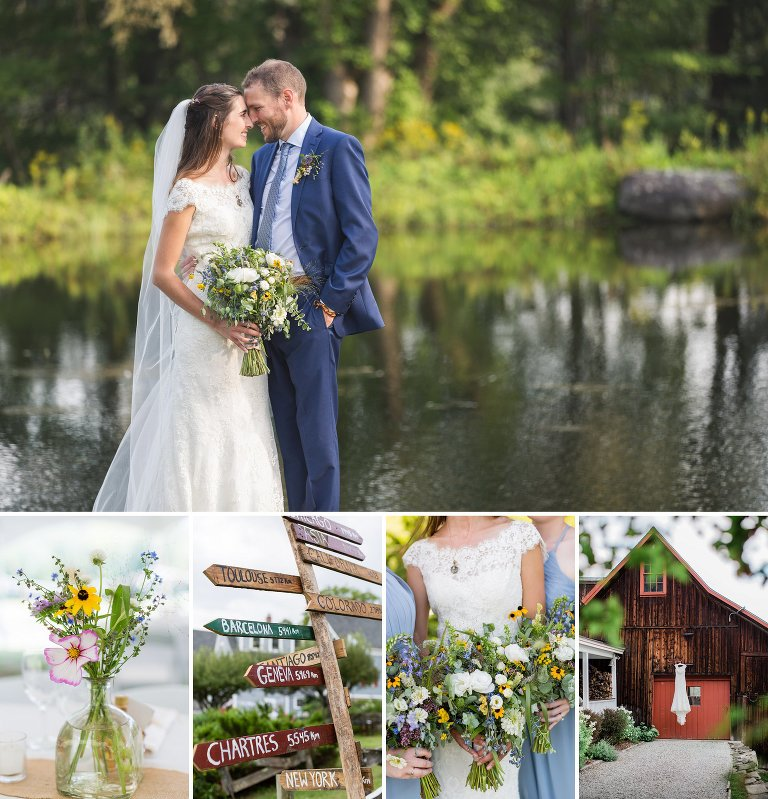Travel Themed Chester, Vermont Backyard Wedding